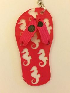 "Personalized or Monogrammed 3"" Flip Flop Keychain by SewCuteDesignsbyBeth on Etsy https://www.etsy.com/listing/237384698/personalized-or-monogrammed-3-flip-flop"