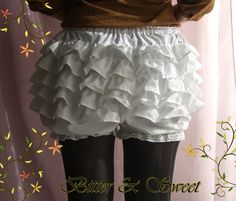 White short bloomers SMLXL Lolita Steampunk by BitterAndSweet, $30.00