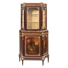 Louis XVI Style Gilt-Metal Mounted Mahogany Vitrine  In two sections, the upper part with a D-shaped top and a three-quarter gallery, above a conforming case enclosing a glazed door and incurved glazed sides, fabric lined, the lower section with a marble top over a plain frieze and cupboard door painted with a Vernis Martin style landscape scene depicting a courting couple, raised on short tapering circular legs ending in metal caps.