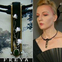 Polymer jewelry japanese style art nouveau jewelry black