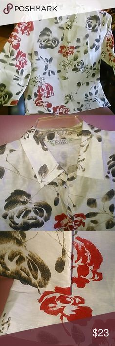 Tomy Bahama women's 4 silk linen blouse 3/4 sleeve buttoned floral,  no damages. Tomy Bahama  Tops Blouses
