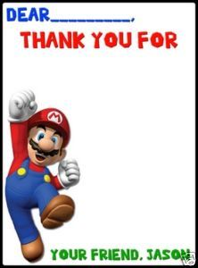 Planning a Super Mario Brothers party for my daughter. Thank-you card idea.