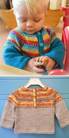 Der Neuen :Free Knitting Pattern for Easy Baby Henley Sweater - Pullover with buttoned henl. Baby Cardigan Knitting Pattern Free, Baby Boy Knitting Patterns, Baby Sweater Patterns, Knit Baby Sweaters, Knitting For Kids, Baby Patterns, Free Knitting, Knitting Wool, Baby Pullover