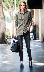 Anine Bing Denim Khaki Shirt Size S BNWT Sold Out!!   eBay