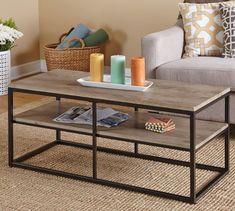 Contemporary Piazza Rectangle Black Metal Frame Brown Shelf Wood Coffee Table #metalframe #furniture #coffeetable #rectangle #shelf #wood