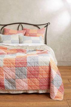 ANTHROPOLOGIE-Menai-Coverlet-QUEEN-Quilt-4-Shams-Cotton-Bedding-Reversible-NIP coral orange red pink blue grey polka dot geometric screen-print patch patchwork