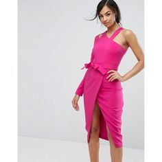 Lavish Alice Asymmetric One Shoulder Dress (€98) ❤ liked on Polyvore featuring dresses, pink, zip bodycon dress, pink dress, one shoulder dress, bodycon cocktail dresses and bodycon dresses