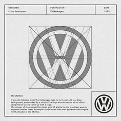 Volkswagen logo, designed by Franz Reimspiess in Learn to design a timeless modern logo like this one using grids - 2 FREE months of Skillshare Premium with unlimited logo design classes. Click the link Logo Branding, Branding Design, Logo Guidelines, Draw Logo, Graphisches Design, Vector Design, Design Elements, Logo Process, Famous Logos