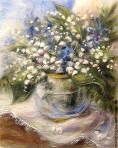 """Картины цветов ручной работы. Ярмарка Мастеров - ручная работа. Купить Картина из шерсти """"Ландыши"""". Handmade. Белый, подарок"""