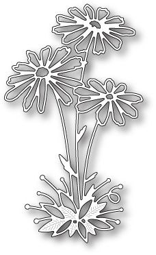 Memory Box Glorious Gerber Daisies Die. 100% steel craft die from Memory Box. For use on cardstock, felt, and fabric. Cut, stencil, emboss, create. Use in most