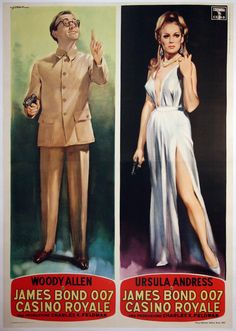CASINO ROYALE (1967), Poster with Woody Allen and Ursula Andress via WalterFilm memorablia