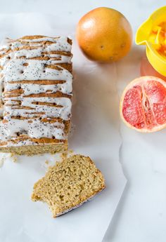 This light & moist whole grain grapefruit cake is made with olive oil, Greek yogurt and poppy seeds.It's perfect for a healthy spring breakfast or dessert!