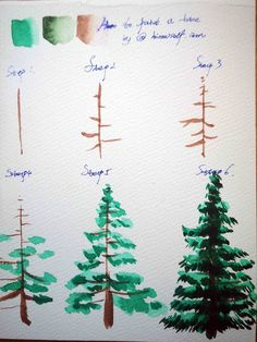 HiArt: 2How to draw a tree with watercolor step by step