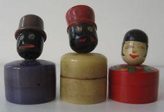 3 Vintage Bakelite Figural Mini Solid Perfume Rouge Pots Jars