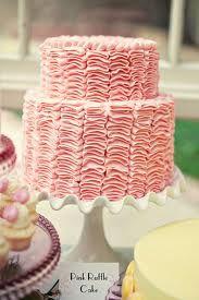 pink ruffled tiered cake