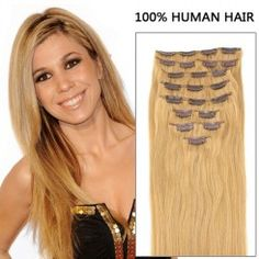 24 Inch 7pcs Straight Clip In Remy Hair Extensions 80g (#27 Strawberry Blonde)