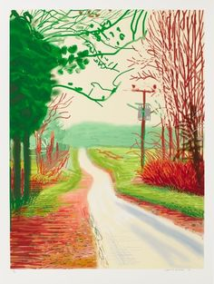 David Hockney (Brit. 1937- ), The Arrival of Spring in Woldgate, East Yorkshire in 2011 (twenty eleven)-23 February, 2011. iPad drawing printed on paper, 55 x 41-1/2""