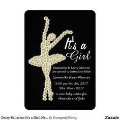 Daisy Ballerina It's a Girl, New Baby Announcement