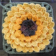 Ravelry: Mum In Treble Afghan Square pattern by Julie Yeager Crochet Flower Squares, Crochet Squares Afghan, Crochet Sunflower, Crochet Leaves, Crochet Blocks, Sunflower Pattern, Granny Square Crochet Pattern, Afghan Crochet Patterns, Crochet Granny