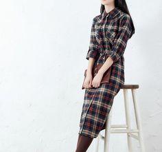 Button Down Shirts – Two Color Women Check Shirt Dress – a unique product by minyaZhou on DaWanda