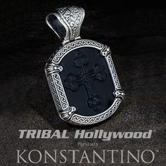 Konstantino+3D+BLACK+ONYX+CROSS+Sterling+Silver+Mens+Necklace+Pendant