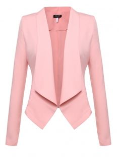 Beyove Womens Casual Work Office Blazer Open Front Long Sleeve Cardigan Jacket Pink XXL - All About Blazers For Women, Coats For Women, Jackets For Women, Women Blazer, Blazer And Shorts, Blazer Jacket, Pink Jacket, Blazer Outfits, Blazer Pattern