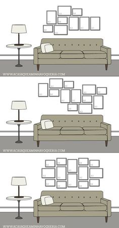 New Wall Frames Couch Picture Arrangements Ideas Picture Arrangements, Photo Arrangement, Wall Design, House Design, Design Design, Gallery Wall Layout, Gallery Walls, Art Gallery, Interior Decorating