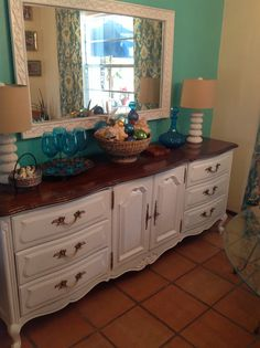 My new buffet, recently painted white, from ordinary to extraordinary
