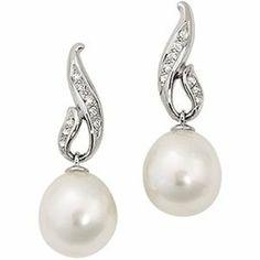 Amazon.com: Jewelplus South Sea Cultured Pearl & Diamond Drop Earrings 14K White Pair 1/5 Cttw/12.00Mm: Jewelry