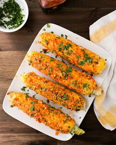 Grilled Corn with Harissa and Feta #grilledcorn #corn #grilled #feta #fetacheese #food  #recipe #harissa