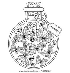 Coloring book for adults. A glass vessel with memories of summer. A bottle with bees, butterflies and ladybugs. Raster copy