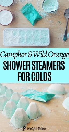Struggling with stuffy nose and colds? Make your own shower steamers with wild orange and camphor: a natural remedy that soothes congestion and helps you relax and sleep better. Easy to make and suitable for beginners too! #showersteamers #showerfizzies #naturalremedies #diybeauty #bathtime