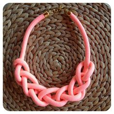 Bright-pink rope braided necklace With golden clasp NOW available onhttp://www.facebook.com/thefthing