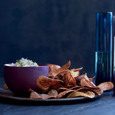 To accompany Food & Wine's luxurious dip: salt-and-vinegar potato chips and a little bowl of homemade celery salt.