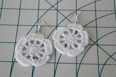 completed doily earrings