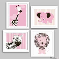 Nursery wall art, baby nursery decor, nursery print, elephant, lion, zebra, giraffe, Set of four 11X14 prints PINK Jungle Animals-1. $89.95, via Etsy.