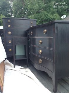 DIY Black Chalk Finish Paint-Dress and Chest of Drawers