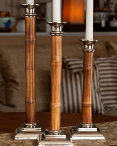 Turner Bay luxury home store Set of 3 Bamboo Candlesticks 27415