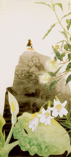 田中一村「ユリと岩上のアカヒゲ」(1961)