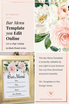 DIY Wedding Bar Menu Template ~ INSTANTLY edit in your browser NOW, download and edit. Very easy and super affordable! Printed Wedding Menus, Diy Wedding Menu Cards, Diy Wedding Bar, Diy Wedding Decorations, Diy Wedding Program Template, Menu Card Template, Menu Printing, Edit Online, Drink Signs