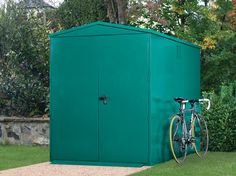 Large metal bike storage and garden shed. The Centurion bike store has ventilated system and side panels to increase airflow and minimise condensation.
