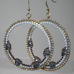 Vintage Antique Look Baby Bronze Blue Goddess Beaded Hoops Earrings brown summer jeans spring light weight clip on on Etsy, $39.99