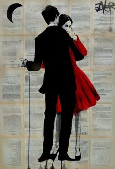 ARTFINDER: True Romance by Loui Jover - ink and gouache on vintage book pages adhered together to create one sheet ready for framing ,from an ongoing series of works, featuring romantic couples.