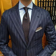 The chalk-stripe suit is such a classic!