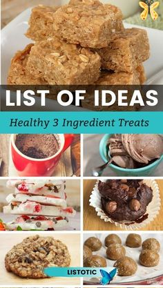 Quick easy and healthy recipes that use just 3 ingredients. Get your sweet tooth covered with some easy recipes. Yummy breakfast recipes, desserts and snacks to that satisfy but don't have a lot of fat and calories. Bars, cookies, muffins, cakes and yogurt bark recipes that are super easy to whip up. Kids and adults will enjoy these healthy snack recipes that use only three ingredients. See all  recipes on Listotic. #3ingredientrecipes #healthysnacks #healthyrecipes #healthydesserts… Healthy Cake, Healthy Desserts, Easy Desserts, Healthy Recipes, Keto Recipes, Healthy Food, Eating Healthy, Healthy Meals, Easy Recipes
