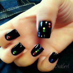 Neon Tetris dots (mine) by Christy at Klassy Nails & Spa in Gilbert, AZ #nails #nailart #naildesign