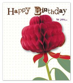 flower greeting card from Pulp-paperJOY Honey Pops, Honeycomb Paper, Crafts For Kids, Diy Crafts, Paper Ribbon, Pop Up Cards, Paper Cards, Handmade Cards, Paper Flowers