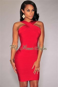 Red CrissCross Neck Bandage Dress Womens clothing clothes hot miami styles hotmiamistyles hotmiamistyles.com sexy club wear evening clubwear cocktail party kim kardashian dresses bandage body con bodycon herve leger