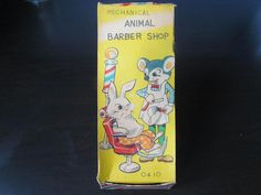 1950's T.P.S JAPAN Mechanical ANIMAL BARBER SHOP Tin Wind Up Toy MINT IN BOX