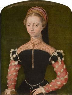 Catharina van Hemessen, an amateur painter, was the second daughter of the painter Jan van Hemessen and was lady-in-waiting to Maria of Hungary at Brussels. Catharina painted chiefly religious scenes and female portraits. It is likely that the portrait here depicts a lady-in-waiting, elegantly dressed in a black bodice with red sleeves. From the van Ertborn collection